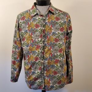 21 Men Fitted floral print button down shirt med.
